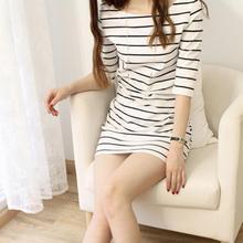 Summer Elbow Sleeve Round Neck Striped Women Party Casual Mini Dress  Mini Dress