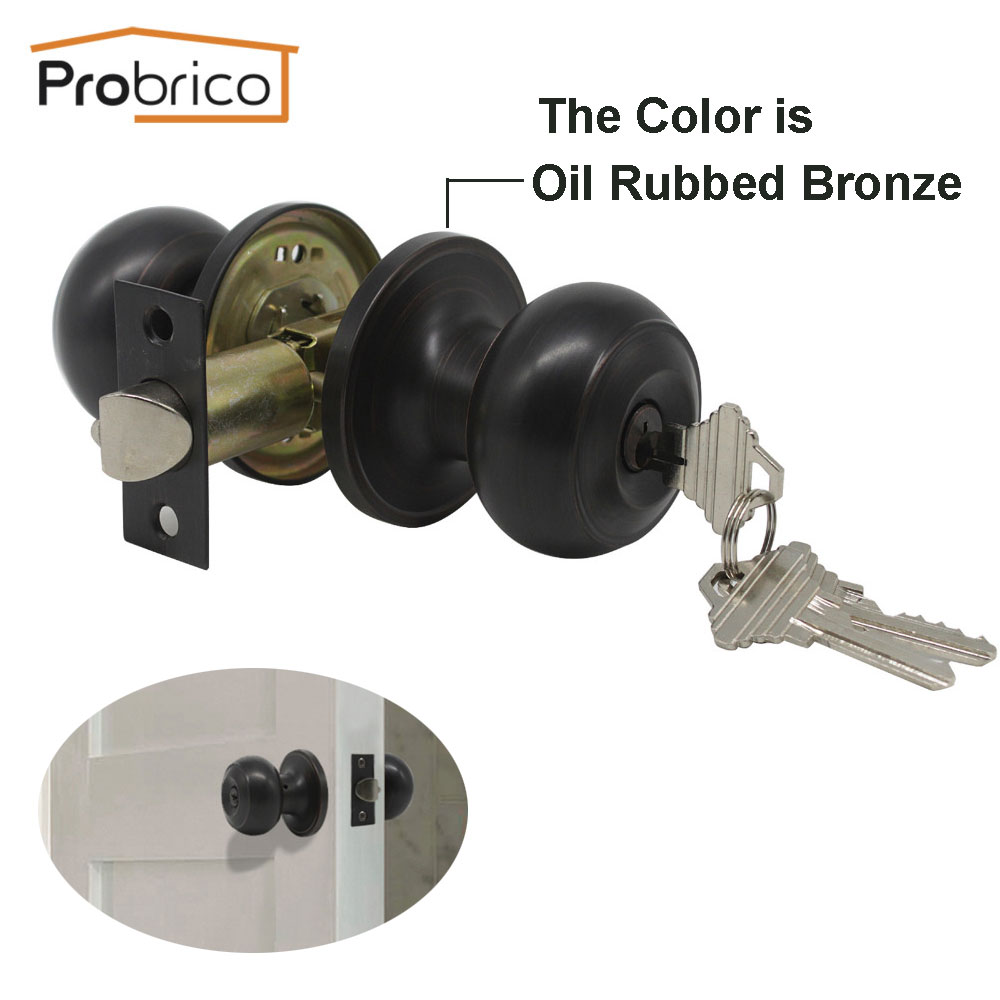 Probrico Rotation Lock Knobset Handle Stainless Steel Round Door Knobs With Key For Bedroom Living Room Bathroom Door Hardware