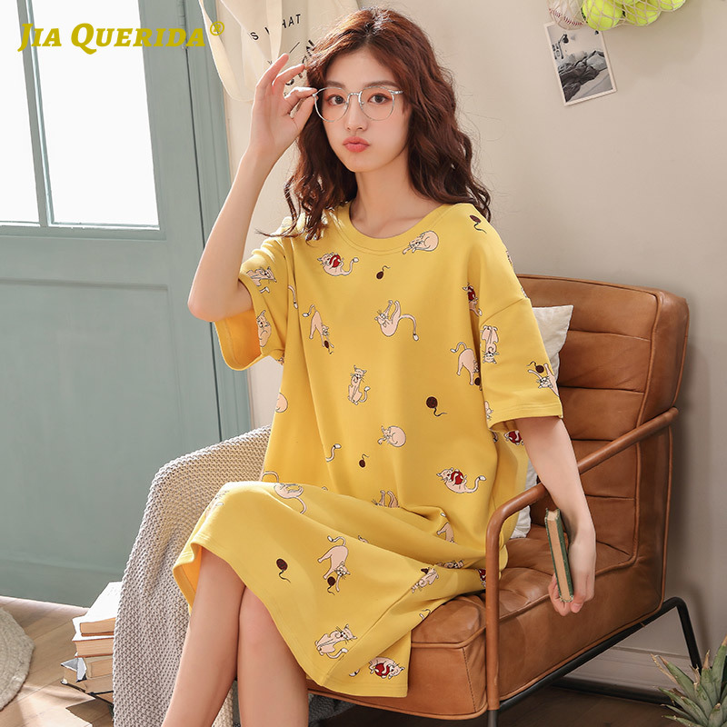 2020 Summer New Ladies Sleep Wear Nightgown Sleepshirt Yellow Cartoon Cat Printing Short Sleeves Knee-length Women's Homewear