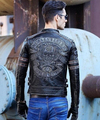 Free shipping.mens skull genuine leather Jackets,men's Edge vintage biker jacket.extra page for vip