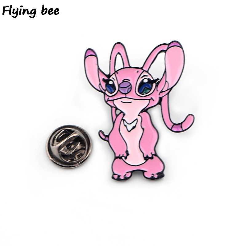 Flyingbee Kartun Stitch Lucu Pin Bros Jaket Enamel Pin Lencana Kerah Pin Bros Lencana untuk Teman Wanita Pria X0429