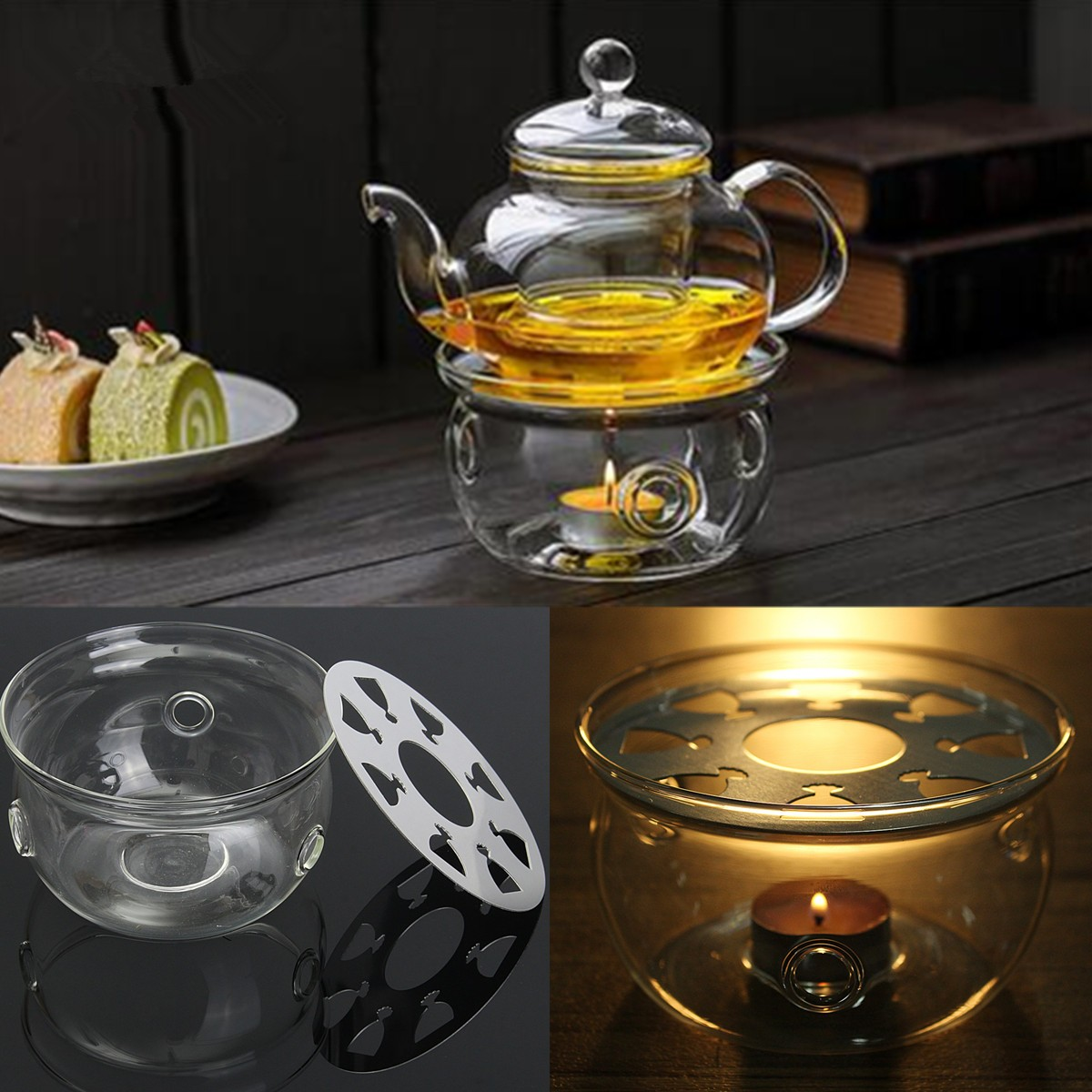 1pc Portable Clear Teapot Holder Base Coffee Water Tea Warmer Candle Holder Glass Heat-Resisting Teapot Warmer Insulation Base