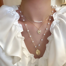 Punk Multi Layered Pearl Choker Necklace Collar Statement Virgin Mary Coin Crystal Pendant Necklace Women Jewelry meild big crystal clear pendants necklace women fashion punk statement collar choker necklaces jewelry party gifts