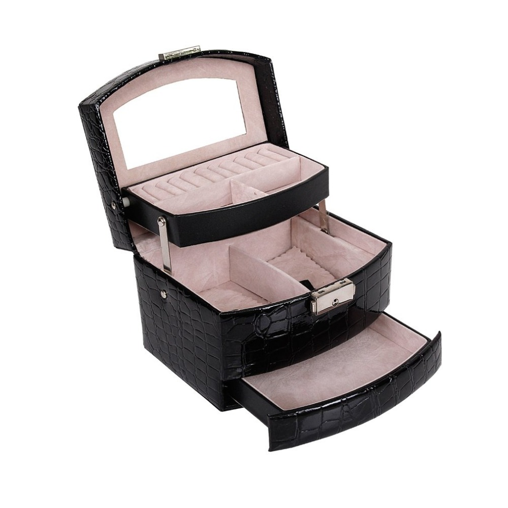 High Grade Crocodile Print Jewelry Display Leather Box 3 Layers Ring Necklace Chain Jewelry Case Container Home Storage Supplies