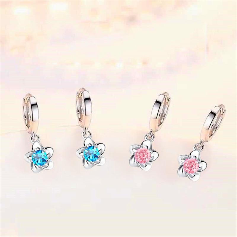 Dainty Female Blue Flower Drop Earrings Classic Round Crystal Dangle Earrings For Women Luxury Silver Color Wedding Earrings