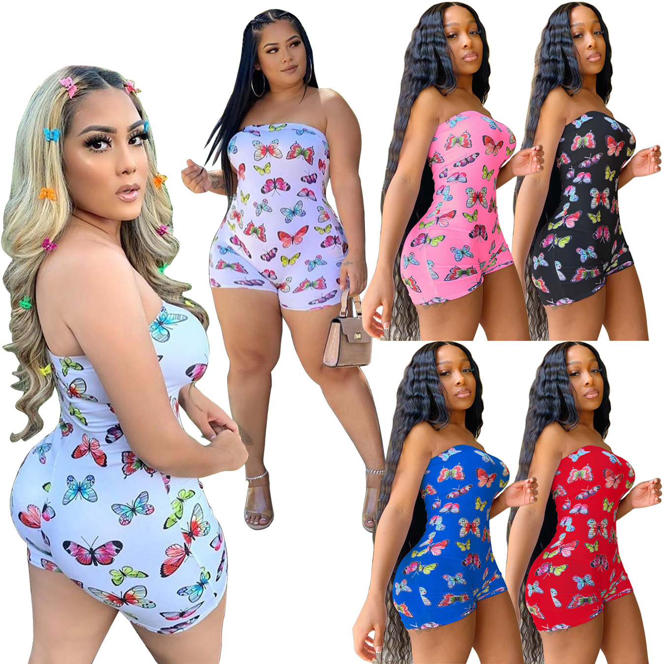 Echoine 2020 Women Sexy Butterfly Print Spaghetti Strap Sleeveless Bodysuit Jumpsuit Beach Party Club Playsuit Overall Romper