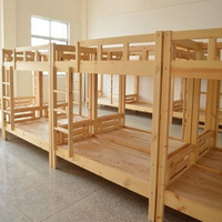 Employee Dormitory Solid Wood Double Layer Apartment Bed Dormitory Bunk Bed Hostel Pine Dormitory Bed Processing Customizable
