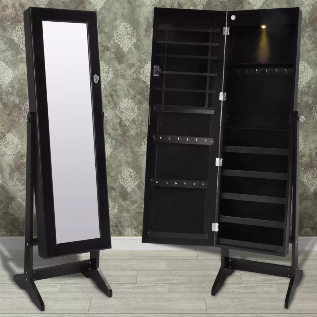 VidaXL Bedroom Furniture Freestanding Mirror Jewelry Cabinet For Dressing Room Makeup Bedroom White Dresser Makeup Cabinet