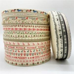 Fita de algodão para costura, 5 jardas/lote 10mm feito à mão design impresso fita de natal para costura de tecido decoração de natal presente faça-você-mesmo envoltório