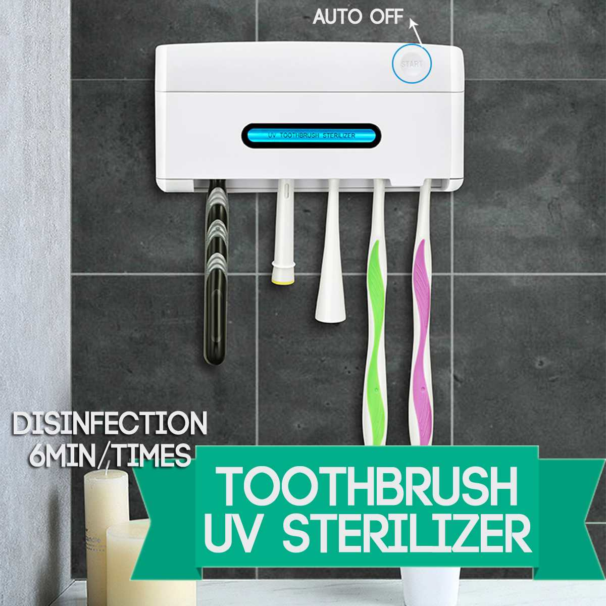 UV Light Ultraviolet Toothbrush Sterilizer Holder 5 In 1 Automatic Toothpaste Squeezers Dispenser Home Bathroom Set NEW