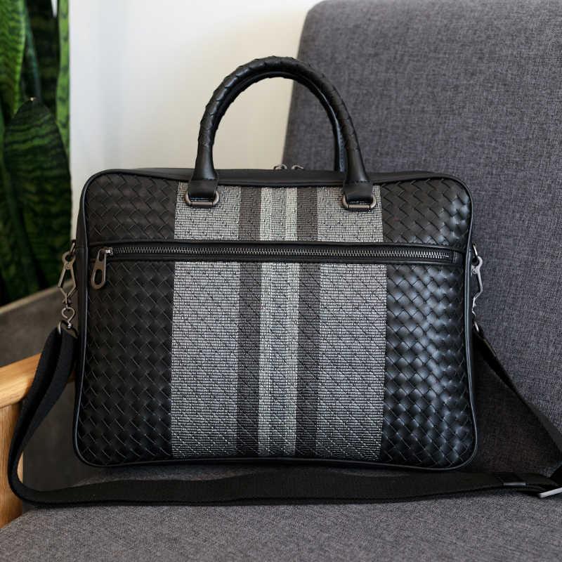 Bolso de mano para hombre, de cuero, marca de lujo, maletín de negocios, bolso tejido de cuero, bolso de hombro a la moda, bolsa de ordenador, gran capacidad, novedad 2020