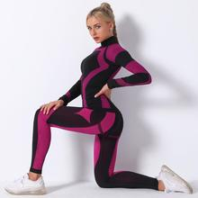 Seamless Leggings Tracksuits Fitness-Clothes Training-Pants Long-Sleeve Yoga Running