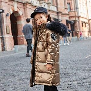 Image 2 - 2020 אופנה מותג ילדה למטה מעיל חם תינוק ילדים למטה מעיילי מעיל פרווה ילד נער עיבוי הלבשה עליונה לחורף קר