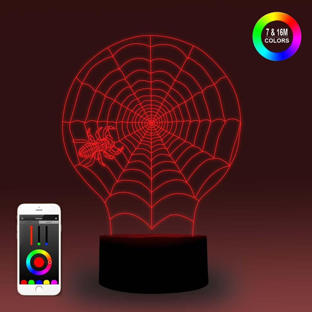 NiteApps 3D Spider Web Night Light Desk Table Illusion Lamp Holiday Birthday Gift APP/Touch Control