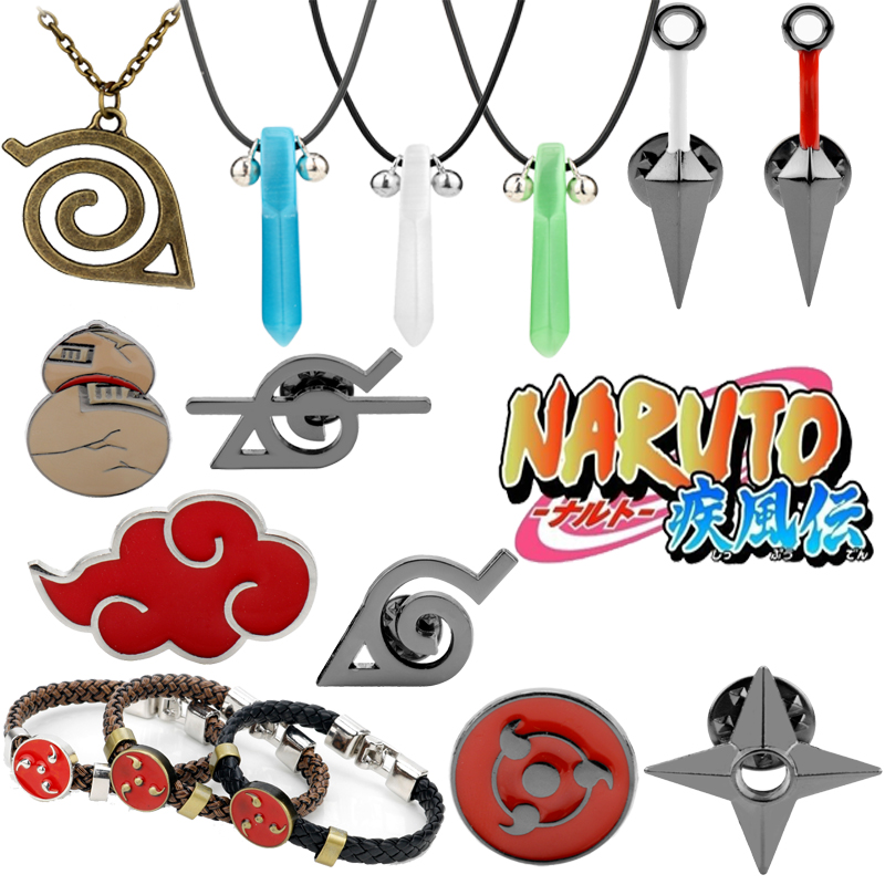 Japanese Anime Theme Pendant Necklace Akatsuki Organization Red Cloud Design Choker Jewelry Cosplay Gift for Friends
