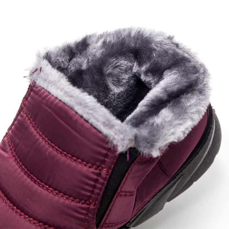 BONJOMARISA nuevo barco directo invierno botas de nieve de tobillo súper cálidas mujeres 2019 botas de plataforma impermeables zapatos de piel de mujer