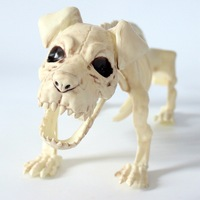 51cm Halloween Statues Simulated Dog Skeleton Model PP Bar Home DIY Decoration Craft Festive Party Supplies