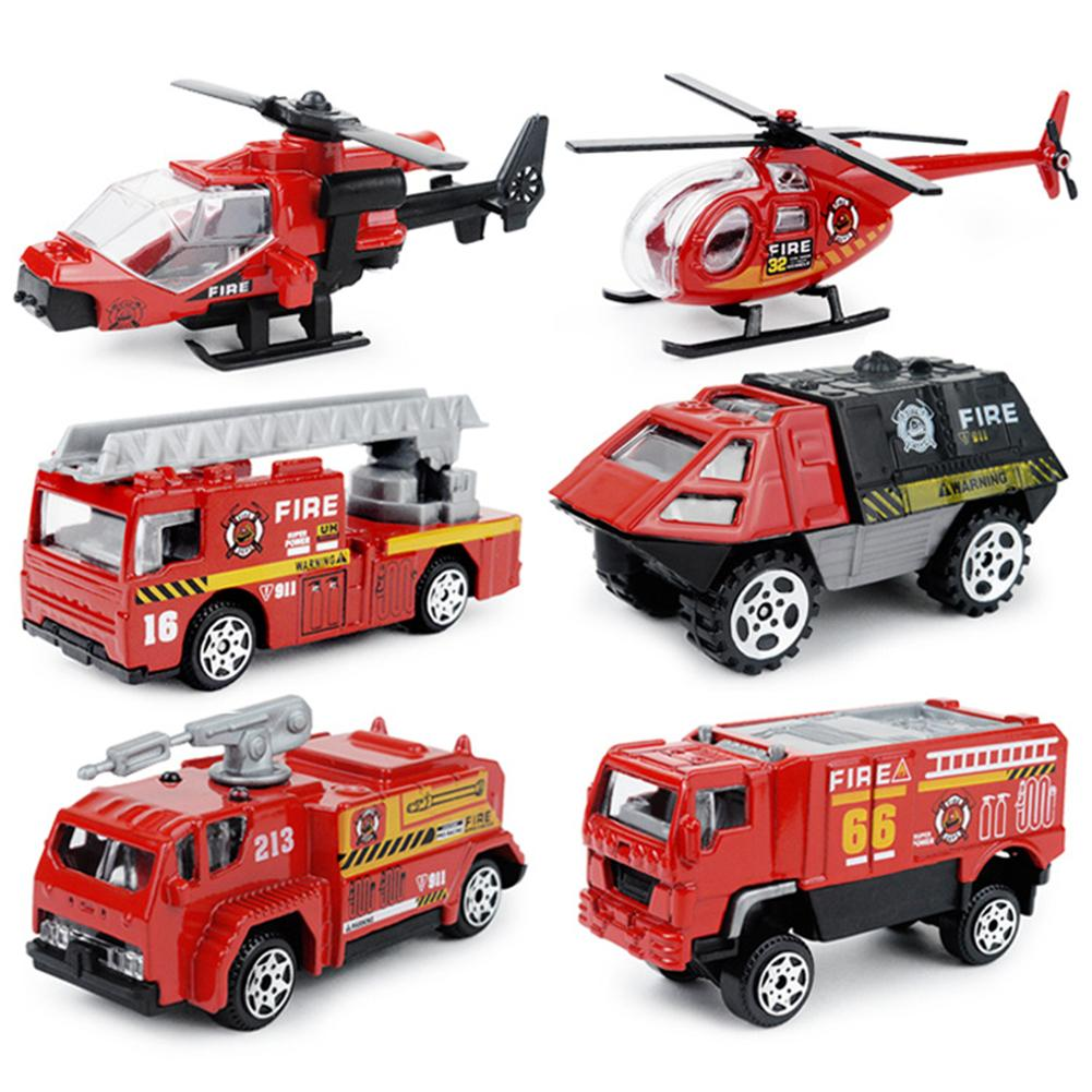 6Pcs 1/87 Diecast Special Polices Fire Truck Sliding Car Model Kids Toy Gift New