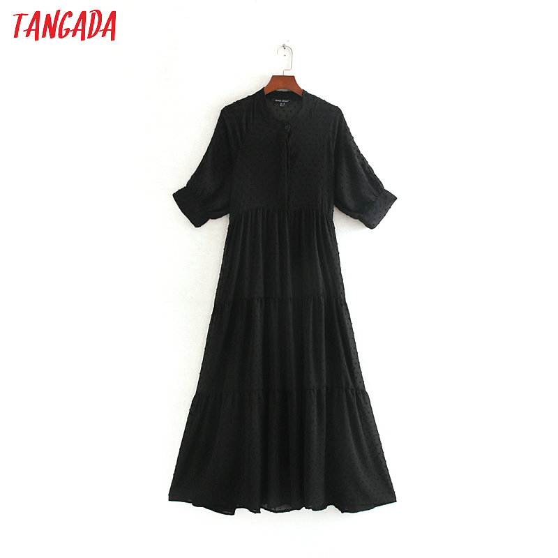Tangada Fashion Women Black Embroidery Mesh Dress Short Sleeve Buttons Vintage Female Midi Dress Vestidos CE187