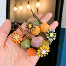 Fashion Sweet and Delicate Wild Hair Accessories Color Flower Ring Girl Horsetail Rubber Band Headdress