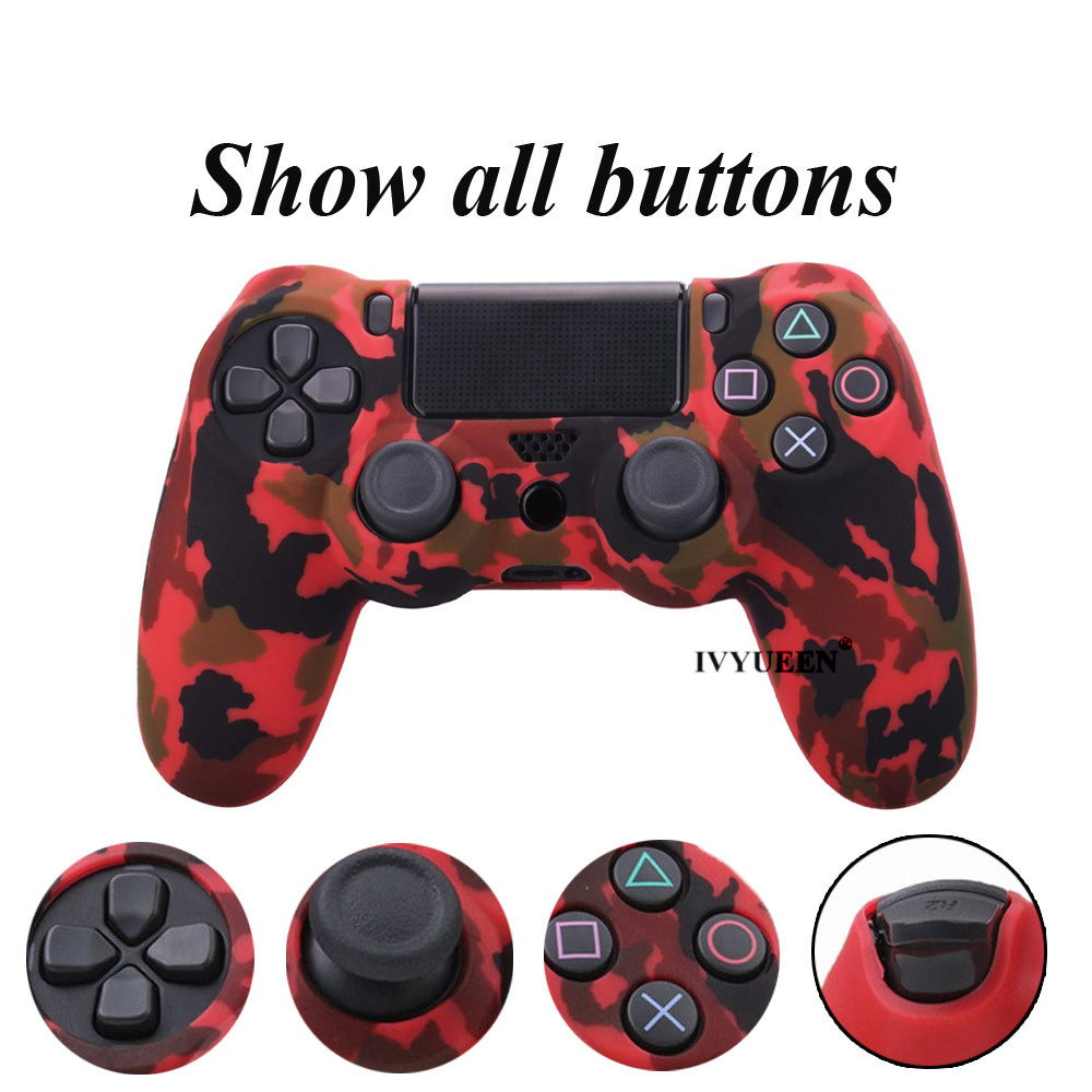 IVYUEEN 44 Colors Silicone Camo Protective Skin Case For Sony Dualshock 4 PS4 DS4 Pro Slim Controller Thumb Grips Joystick Caps 4