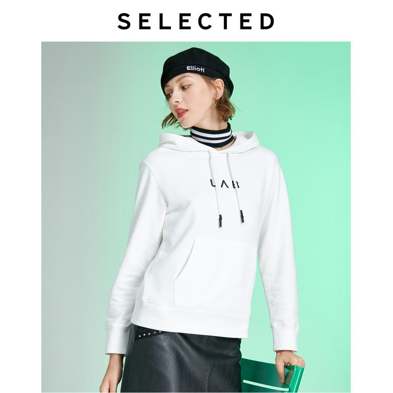 SELECTED Women's Autumn Loose Fit Letter Print Knitted Hoodie Lab|41944D506