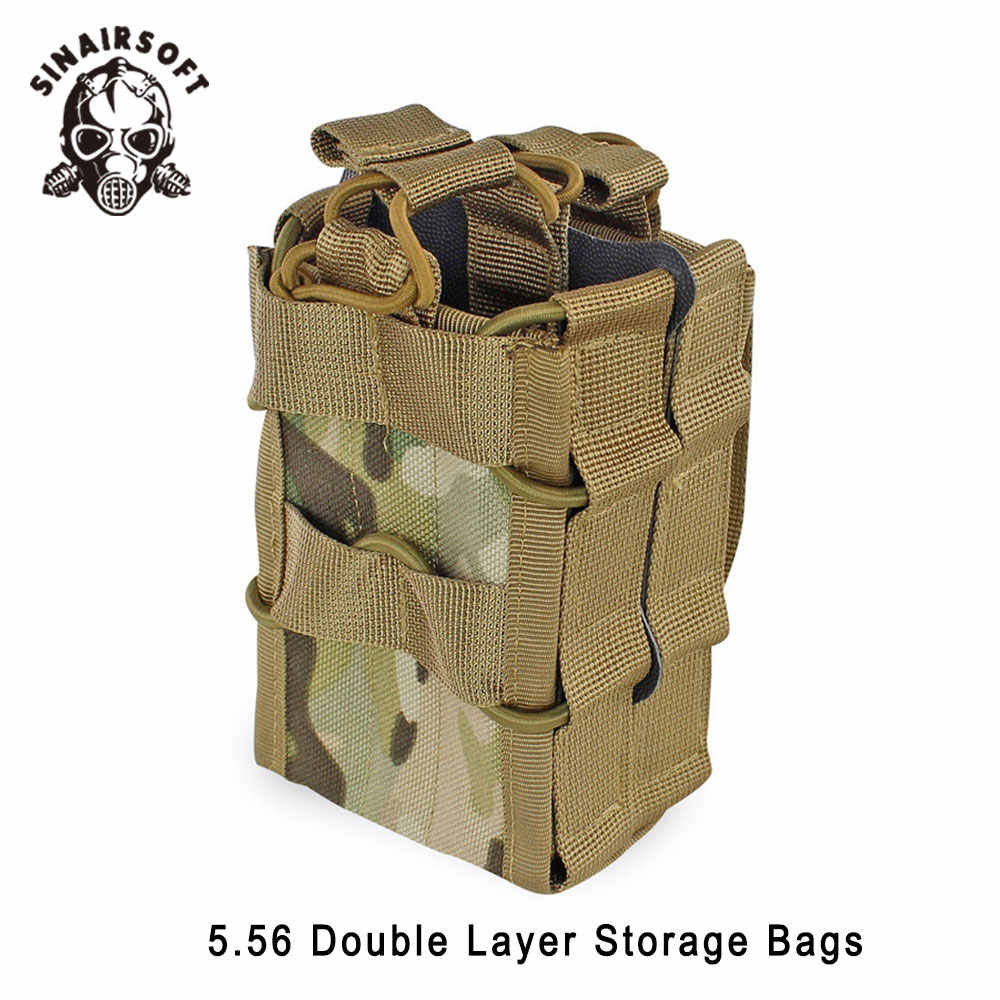 Tactical 1000D Nylon Double Layer Molle Magazine Pouch Bags Rifle 5.56 Mag Pouch