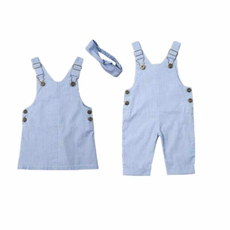 Baby boy girl Clothes 2019 Sister Brother Clothes Toddler Baby Girl Boy Match Clothes Stripe Bib Pants Overalls Suspender Dress