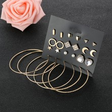 12 Pairs/set Fashion Geometric Heart Stud Earrings Set Mix For Women Round Circle Earring Star Square Triangle Brincos