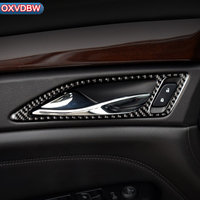 Carbon Fiber Car Inner Door Handle Bowl Frame Cover Molding Trim Stickers For cadillac srx 2010 2011 2013 2015 Auto Accessories