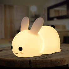 Led-Night-Light Soft-Silicone Kids Bedroom Rechargeable Rabbit Cute Touch-Sensor Children