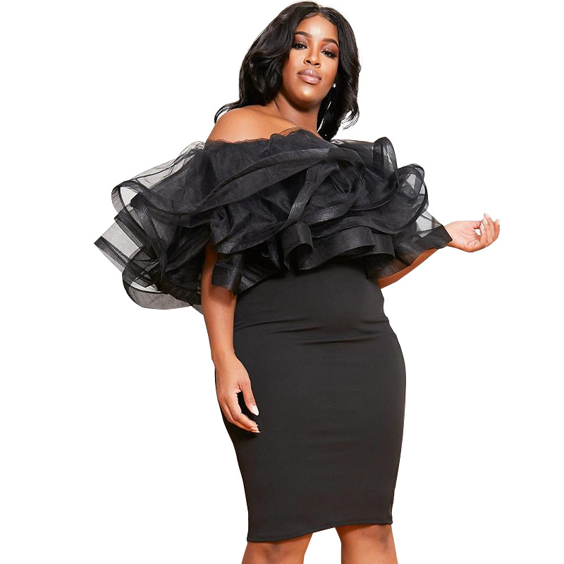 <font><b>4XL</b></font> 5XL Plus Size <font><b>Dress</b></font> 2020 Women <font><b>Sexy</b></font> Bodycon Off Shoulder Bandage <font><b>Dresses</b></font> Female Ruffles Backless Elegant <font><b>Club</b></font> <font><b>Dress</b></font> Vestido image