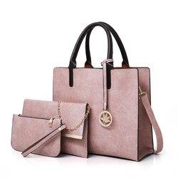 3 pçs conjunto de saco de moda feminina de couro do plutônio das senhoras bolsa de mensageiro de cor sólida bolsa de ombro carteira sacos para mulher 2019