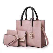 3PCS Women's Bag Set Fashion PU Leather Ladies Handbag Solid
