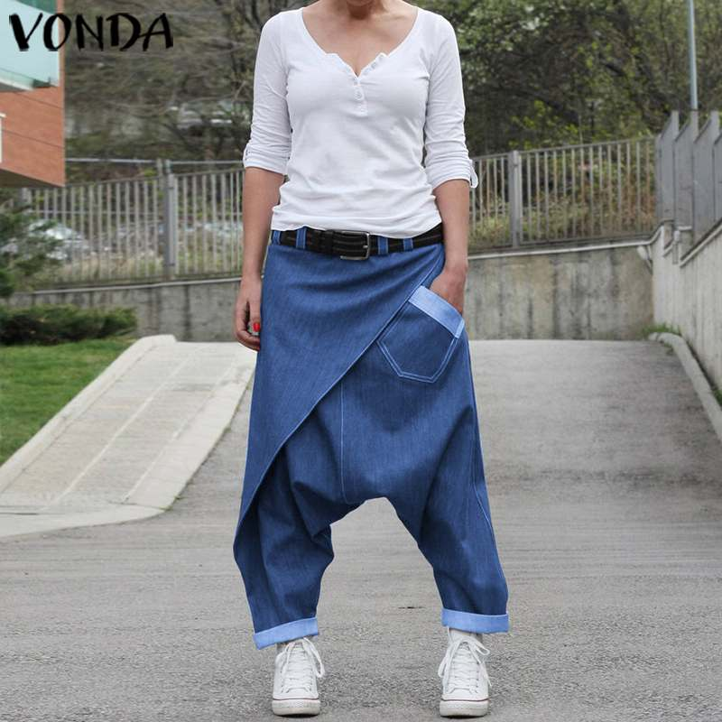 Women Casual Denim Harem Pants VONDA Fashion Summer Wide Leg Pants Bohemian Women's Trousers Plus Size Beach Streetwear 5XL