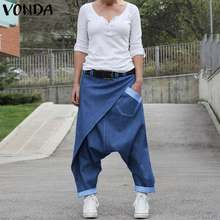 Women Casual Denim Harem Pants VONDA Fashion Summer Wide Leg Pants Bohemian Women's Trousers Plus Size Beach Streetwear 5XL