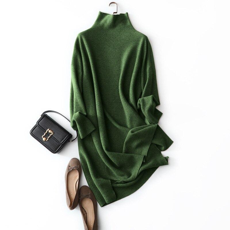 Платье 100 из новой коллекции 2019 осенне зимнее вязаное платье из чистой шерсти с воротником хомутом расслабленное для отдыха выпуска han|Платья| | АлиЭкспресс