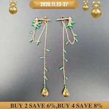 LiiJi benzersiz doğal Citrine yeşil oniks akik gözyaşı damla 925 ayar gümüş altın renk zinciri el işi uzun küpe 8cm