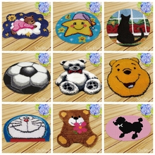DIY Football Latch Hook Rug Foamiran For Needlework Carpet Embroidery Bear Japan Anime Cartoon Button Package Kits