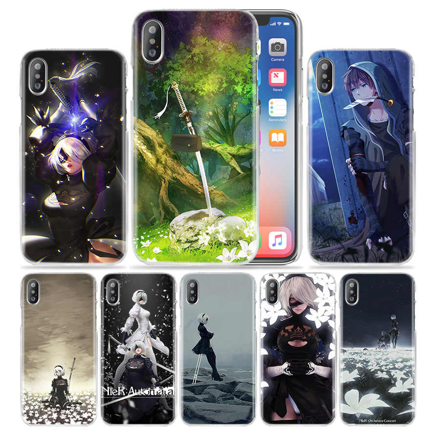 Nier Automata Case untuk iPhone X Max XR X 10 7 + 8 + 6 + 6S + 7 7S 8 6 6S PLUS 5S SE 5 4S 4 5C Hard Pc Anime Tas Ponsel cover Coque