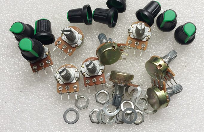 10 шт. линейный потенциометр B1K B5K B10K B20K B100K Ом кабельные наконечники в наборе для каждого из 2 предметов 20 мм вал усилитель потенциометр