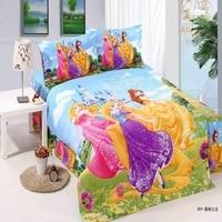 Home Textile Cute Girls Princess Bedding Set Kids Bedroom Best Gift Single Twin Size Bedclothes Cartoon Pattern Duvet Cover Sets