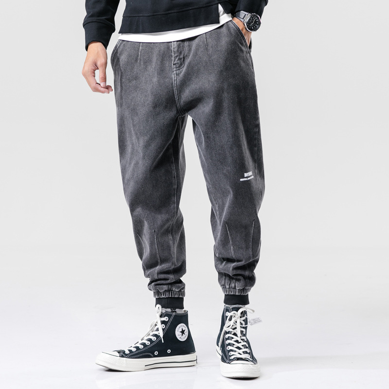 Fashion Streetwear Men Jeans Black Gray Loose Fit Spliced Designer Cargo Pants Harem Jeans Japanese Hip Hop Joggers Jeans Men