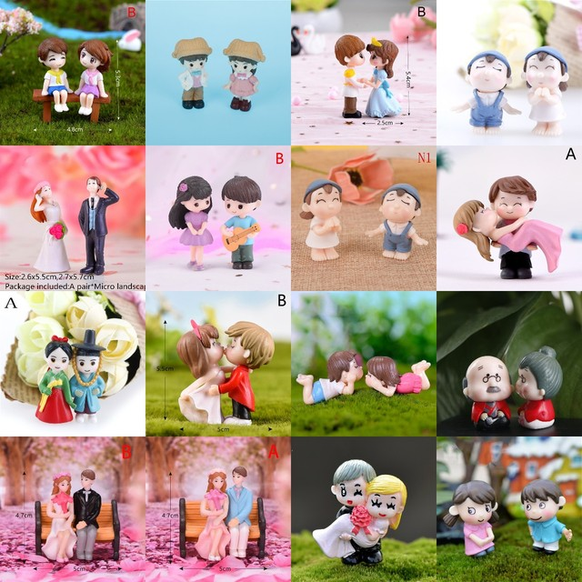 1/2Pieces Sweety Lovers Couple Chair Figurines Miniatures Fairy Garden Gnome Moss Terrariums Resin Crafts Home Decoration 1