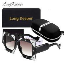 Женские винтажные большие квадратные солнцезащитные очки longkeeper