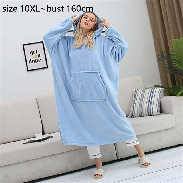 size 10XL Bust 150cm Winter Blankets Hoodies Pocket Long Coat Thick Warm Women Home Wear  Coat Soft Comfortable Blankets Outwear 1