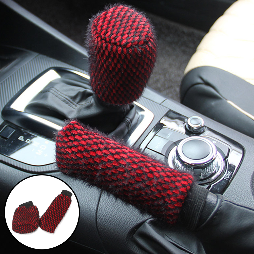 LEEPEE Winter Warm 2pcs/set Car Handbrake Covers Sleeve Handbrake Grips Car-styling Universal Hand Brake Gear Shift Knob Cover