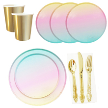 Tableware-Sets Rainbow-Dish Birthday-Party Cups/straws Iridescent Eco-Friendly Disposable