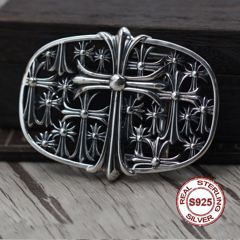 S925 Sterling Silver Button Retro Personality Hip-hop Cross Unique Belt Buckle Thai Silver To Create Punk Style Send Lover