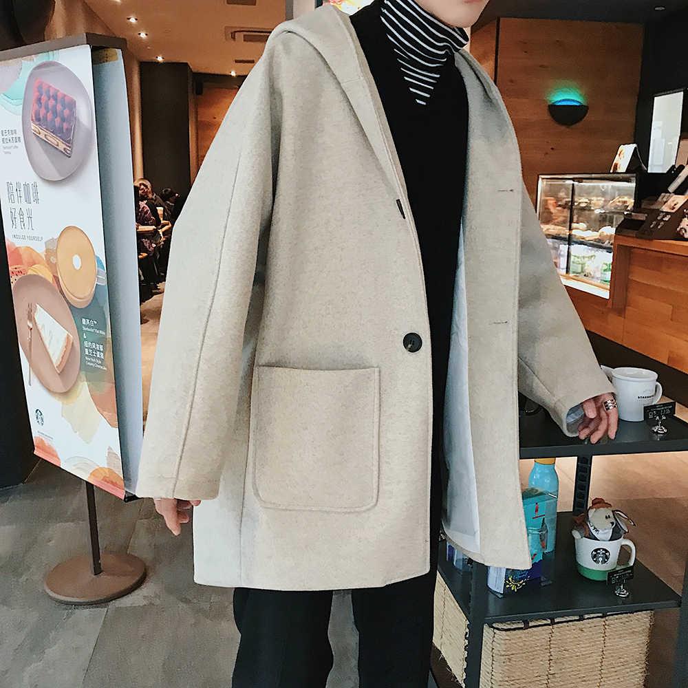Осенне-зимнее модное мужское шерстяное пальто с капюшоном, повседневное свободное однобортное шерстяное пальто средней длины для мужчин, wea